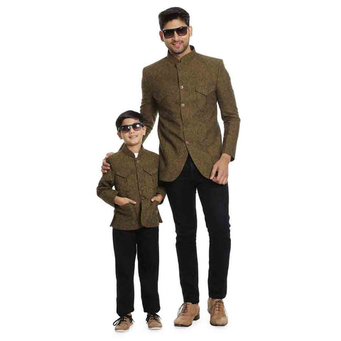 Multipocket bandhgala blazer for Father-Son