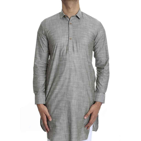 Light olive green kurta with White salwar set for Father-Son