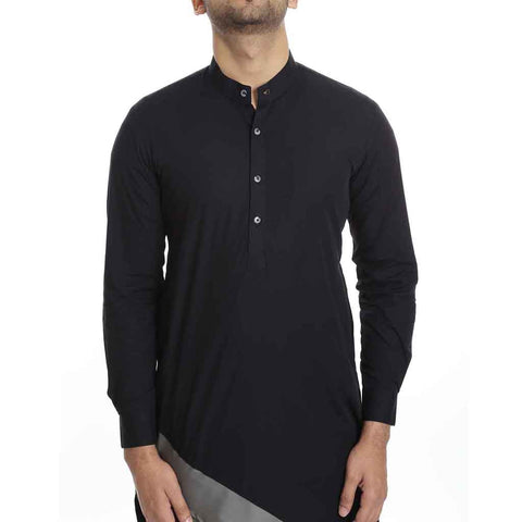 Black and Grey color blocking kurta pyjama set for Father-Son
