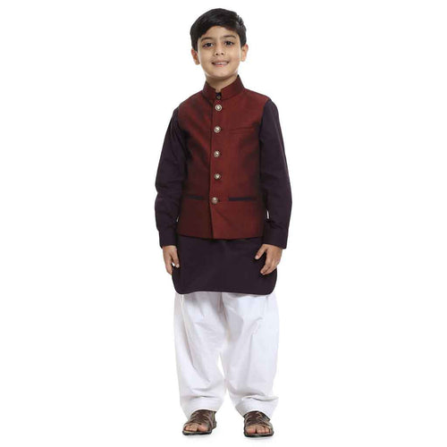 Wine red Bandi with purple brown kurta & white salwar set for Father-Son