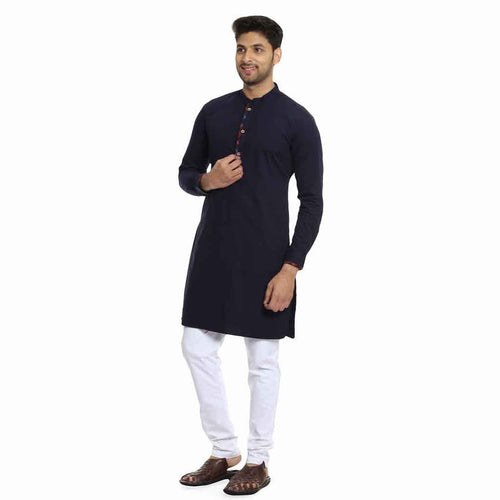 Checks placket detail navy blue kurta with White pyjama set for Father-Son
