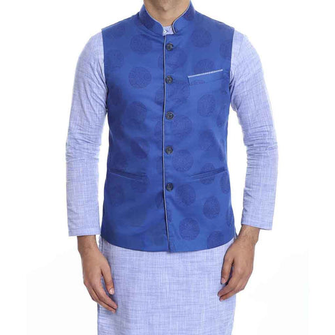 Blue Printed piping detail bandi with light blue kurta pyjama set for Father-Son