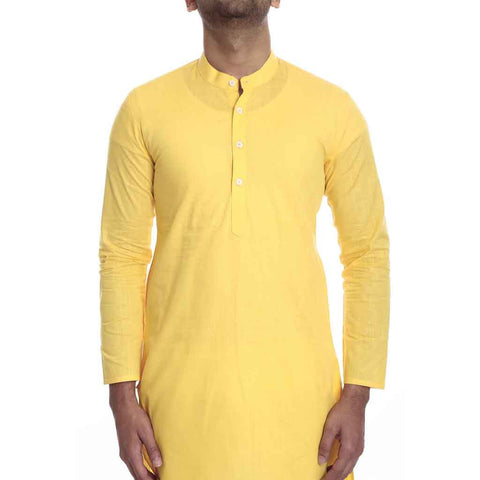Yellow kurta with white pyjama set for Father-Son