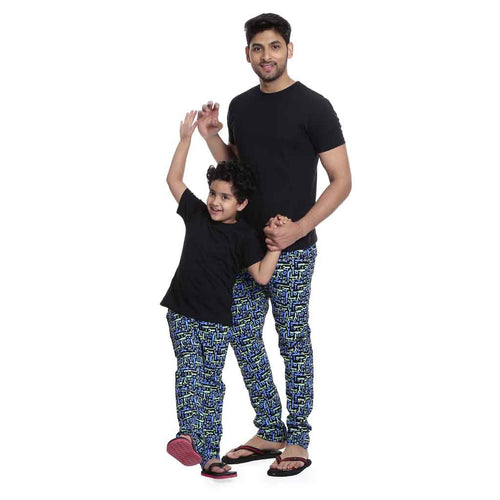 Black and blue Printed Matching Dad & Son Pyjamas