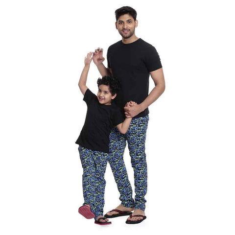 Black and blue Printed Pyjamas Only
