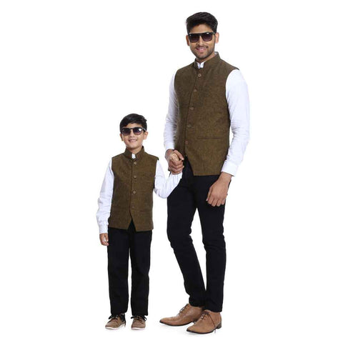 Bandhgala bandi with white mandarin collar shirt set for Father-Son