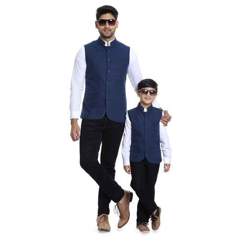 Blue bandh gala bandi with white mandarin collar shirt set for Father-Son