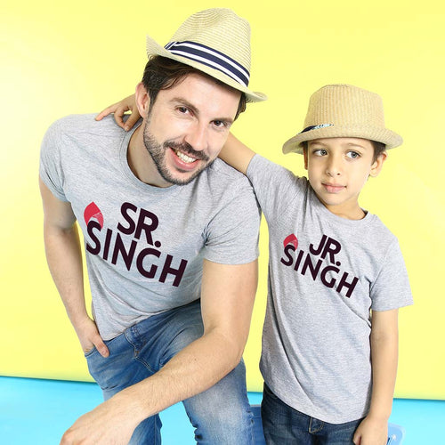 Sr/Jr Singh, Matching Punjabi Tees For Dad And Son