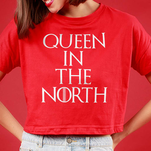 Queen In The North/King In The North, Matching Couple Crop Top And Tee