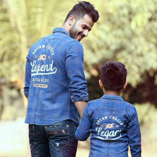 Legacy, Matching Blue Denim Shirts For Dad And Son