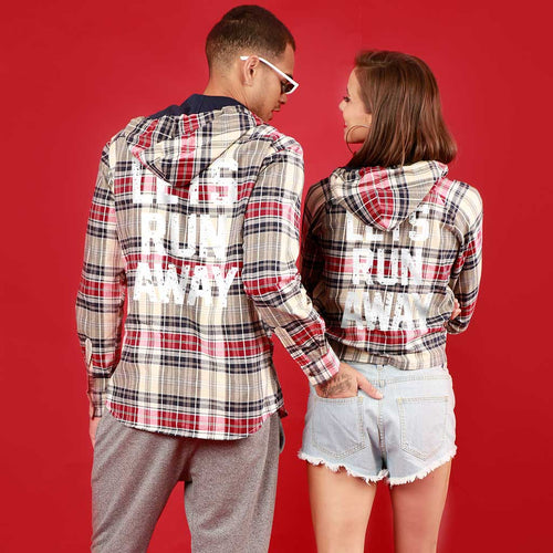 Lets Run Away (Woven Pattern), Matching Hoodie For Men And Crop Hoodie For Women