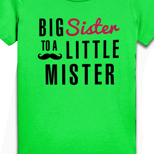 Big Sister To Little Mister, Matching Tee And Bodysuit For Sister And Baby Brother