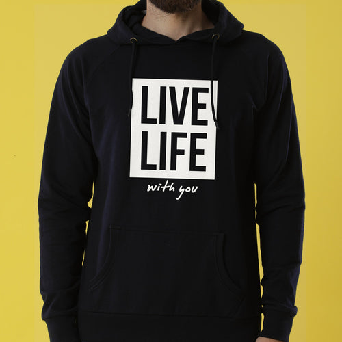Live Life, Matching Black Hoodies For Couple