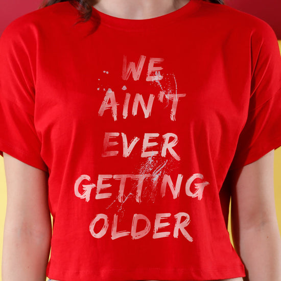 Never Getting Older! (Red ) Matching Couples Crop Top & Tee