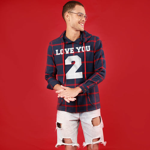 Love You 2 (Woven Pattern), Matching Hoodie For Men And Crop Hoodie For Women