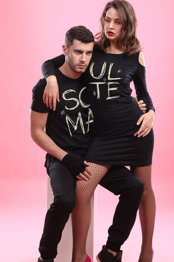 My Mate, Matching Valentines Day Tee And Cold Shoulder Dress For Him And Her