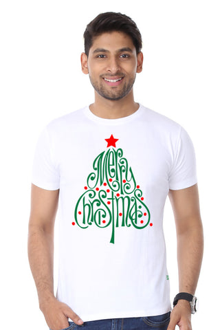 Merry Christmas Tree, Single Tee For Men