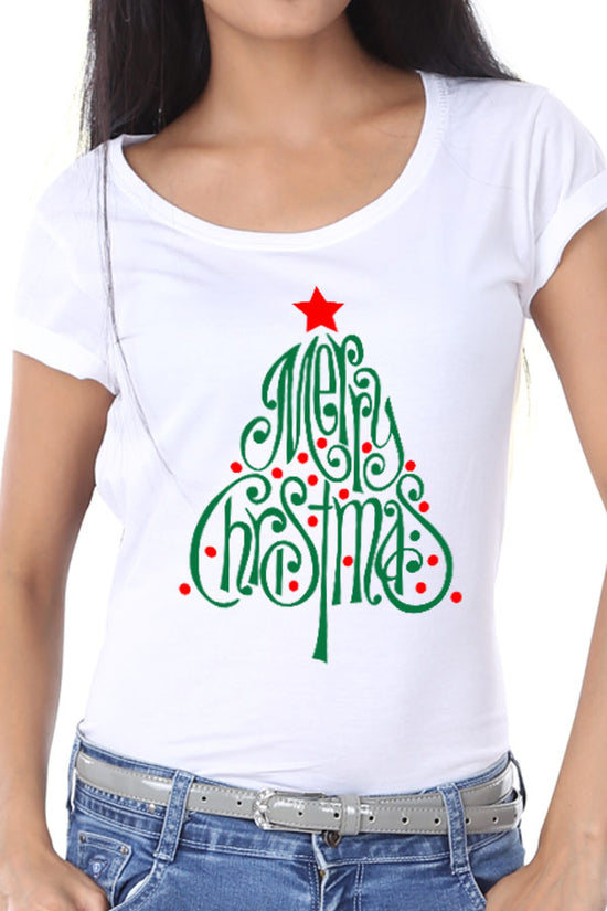 Merry Christmas Tree, Single Tee  For Women