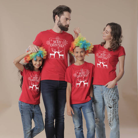 Merry Christmas reindeer print, Family tees