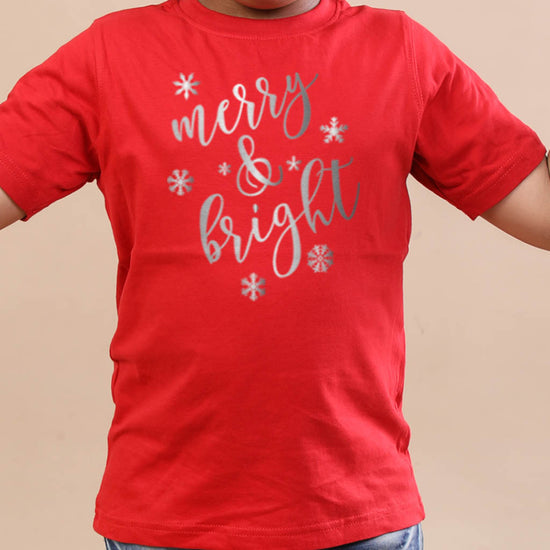 Festive Merry  and bright, brother and sister  tees