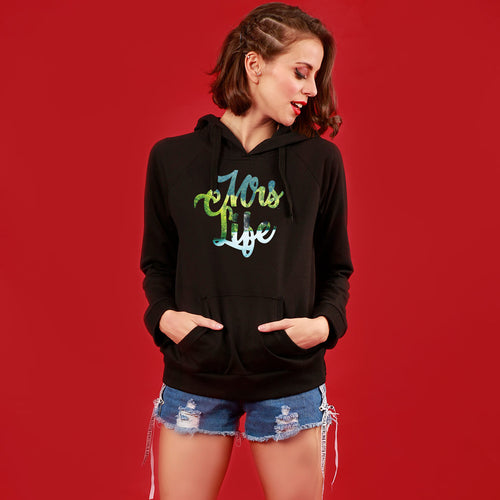 Mr/Mrs Good Life, Matching Black Hoodie For Women