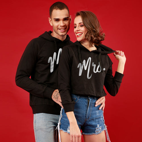 Mr And Mrs (Black) Matching Hoodie For Men And Crop Hoodie For Women