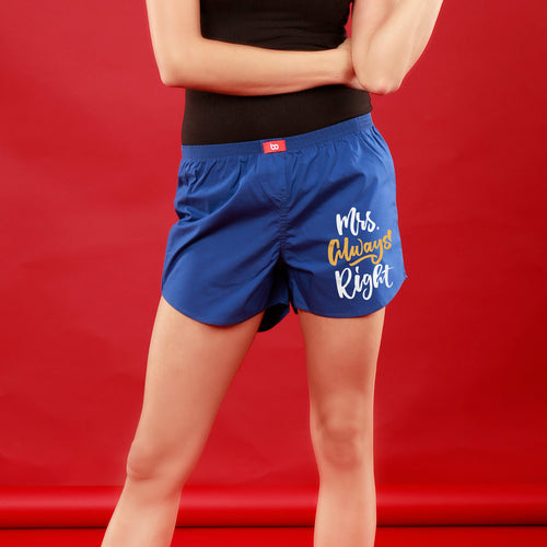 Mr. & Mrs. Right Perfectly Matching Royal Blue Couple Boxers For Women