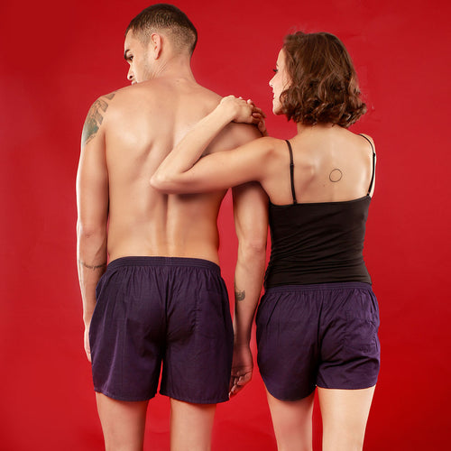 Mr. & Mrs. Right Perfectly Matching Purple Couple Boxers