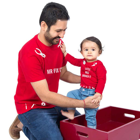 Mr Fix It  Dad-Baby Bodysuit and Tees