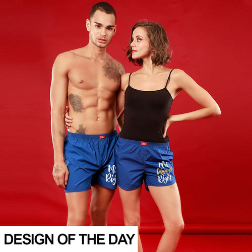 Mr. & Mrs. Right Perfectly Matching Royal Blue Couple Boxers