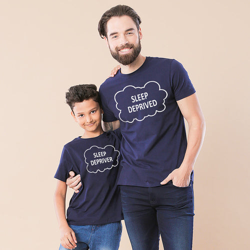 Navy Sleep Deprived/Depriver Father-Son Tees