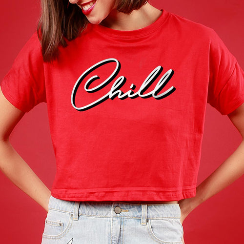 Netflix And Chill, Red Matching Couple Crop Top And Tee