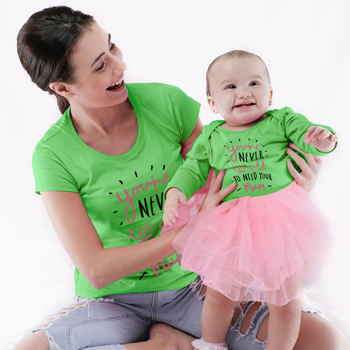Never Too Old Mom & Daughter Bodysuit And Tees