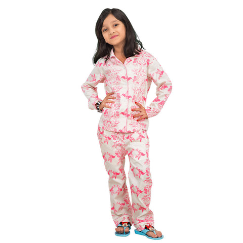 Birds of paradise print white and pink Sleepwear set