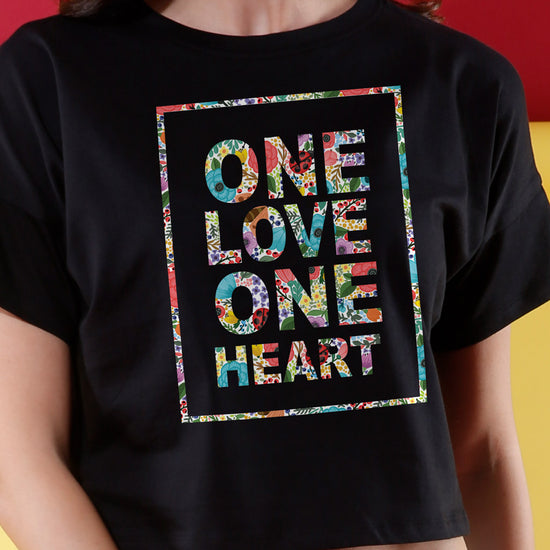 One Heart, One Love Matching Couples Crop Top & Tee