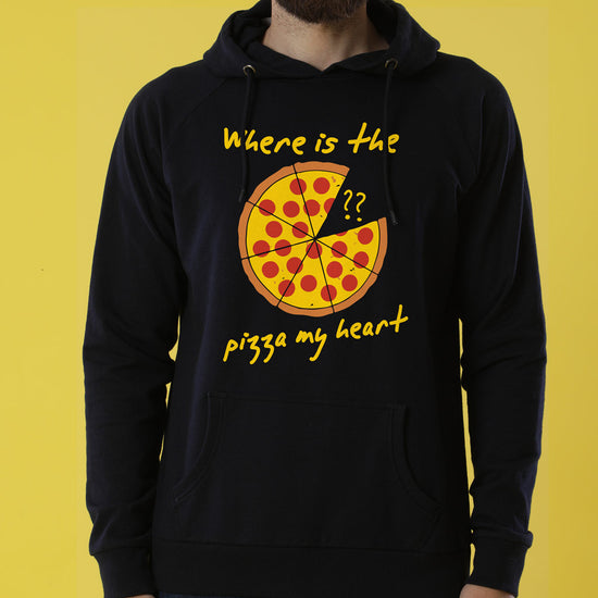 Pizza My Heart, Matching Black Hoodies Set For Couples