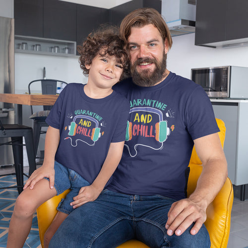 Quarantine And Chill 2020, Matching Dad And Son Tees