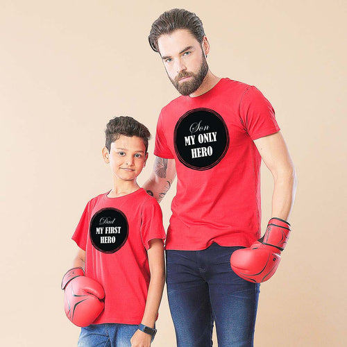 Red Only My Hero Dad And Son Tshirt