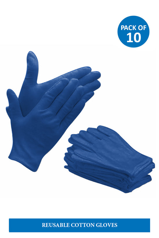 Reusable Blue Cotton gloves ( pack of 10)