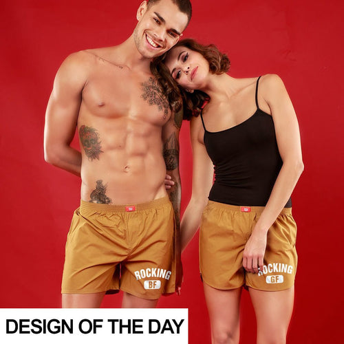 Rocking BF / GF, Matching  Musted Yellow Couple Boxers