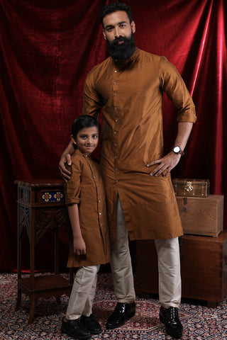 A Graceful Mustard Kurta & Pyjama Set For Father-Son