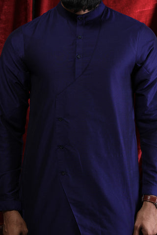 Asymmetric Layered Navy Blue Kurta & Pyjama Set For Father-Son