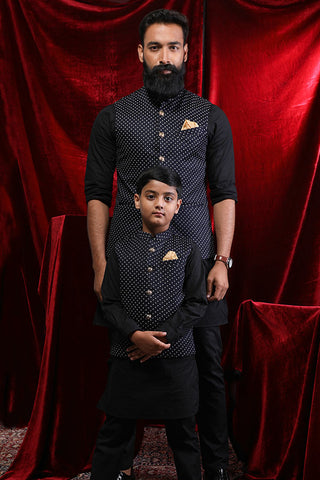 Navy Blue Printed Bandi With Black Kurta & Pyjama Set For Father-Son
