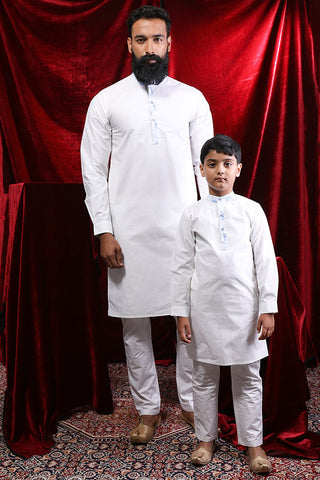 Contrast Floral Placket White Kurta & Pyjama Set For Father-Son