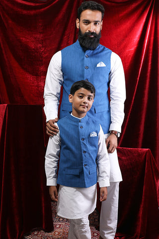 Blue Bandi With White Kurta & Pyjama Set For Father-Son