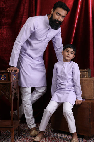 Light Purple Silk Kurta & Pyjama Set For Father-Son