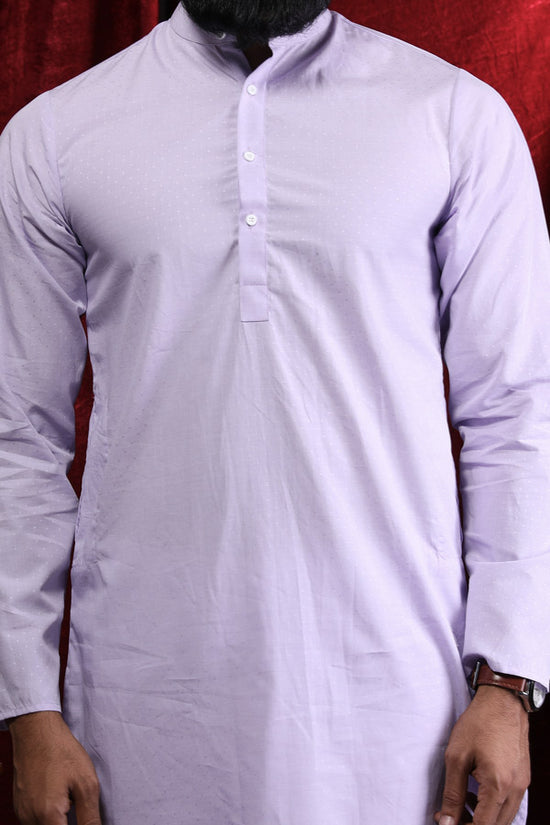 Light Purple Cotton Kurta & Pyjama Set For Father-Son