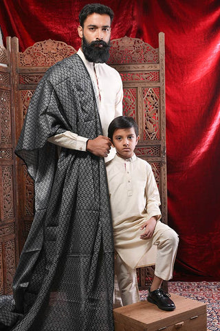 Beige Kurta & Pyjama Set For Father-Son