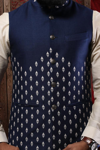 Navy Blue Printed Bandi With Beige Kurta & Pyjama Set For Father-Son