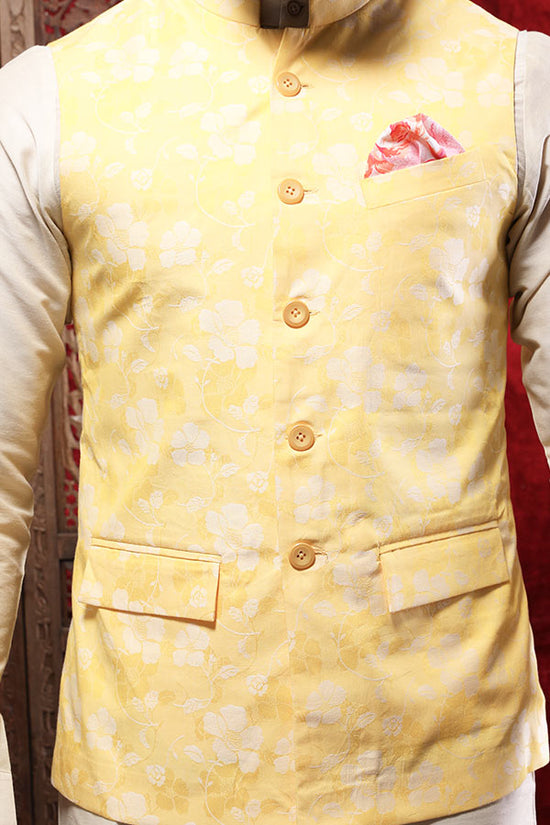 Floral Print Yellow Bandi With Kurta & Pyjama Set For Father-Son